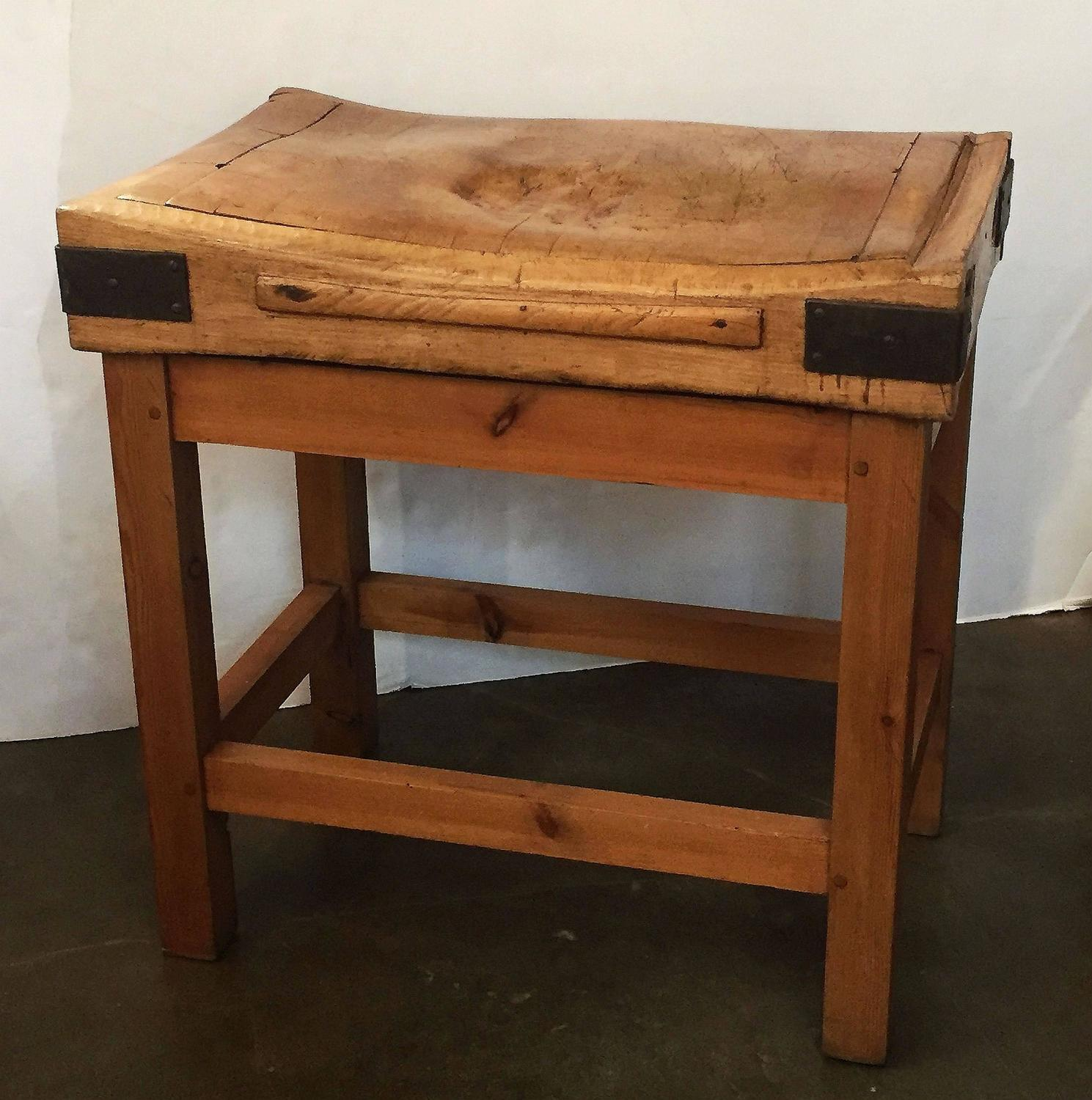 Kitchen Butcher Block Stands : Large French Butcher's Block on Stand For Sale at 1stdibs