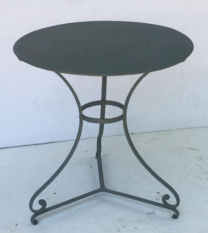 French GreenPainted Round Café Table For Sale At Stdibs - Round metal cafe table