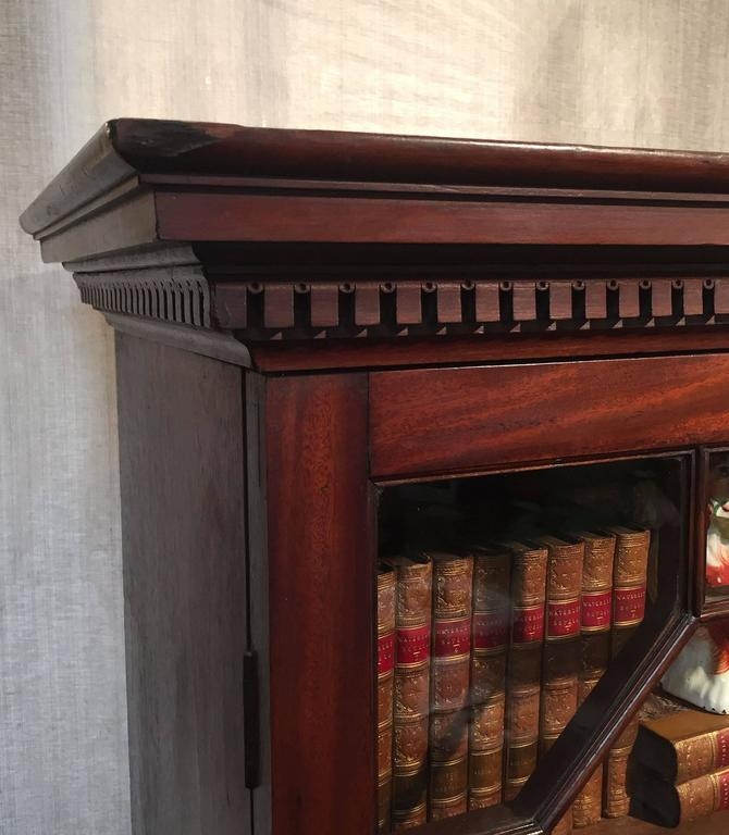 Brass Large English Bookcase of Mahogany For Sale