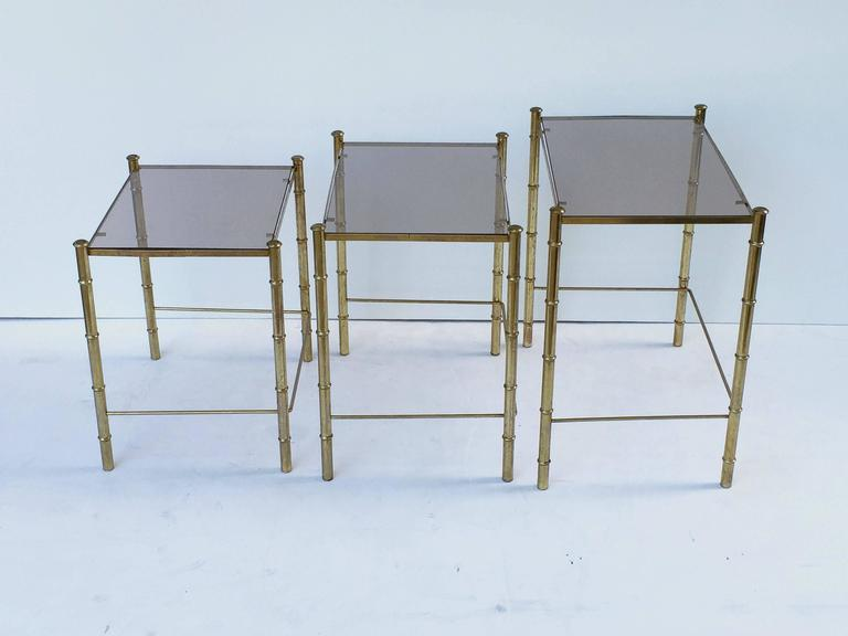 French Nesting Low Tables of Gilt Metal and Glass In Excellent Condition For Sale In Austin, TX