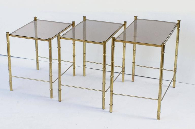 French Nesting Low Tables of Gilt Metal and Glass For Sale 1