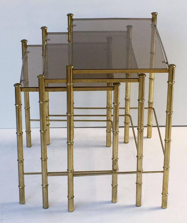 20th Century French Nesting Low Tables of Gilt Metal and Glass For Sale