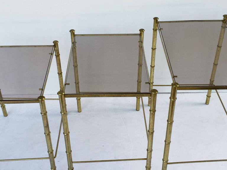 French Nesting Low Tables of Gilt Metal and Glass For Sale 4