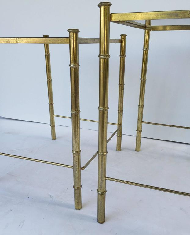 French Nesting Low Tables of Gilt Metal and Glass For Sale 6