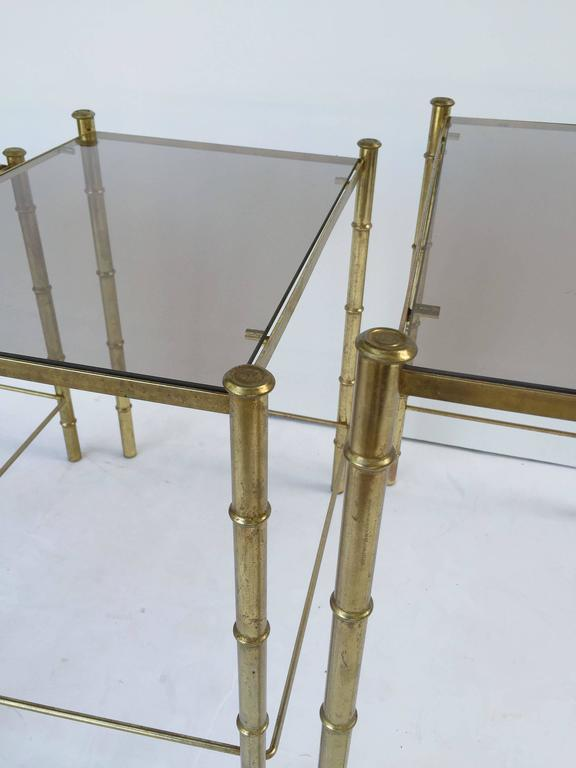 French Nesting Low Tables of Gilt Metal and Glass For Sale 5