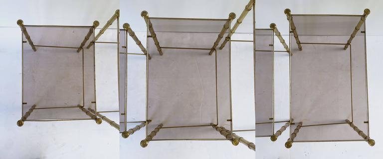 French Nesting Low Tables of Gilt Metal and Glass For Sale 3