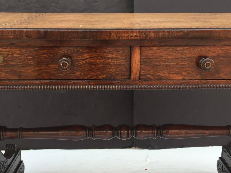 Scottish Library Table of Rosewood with Leather Top For Sale 3