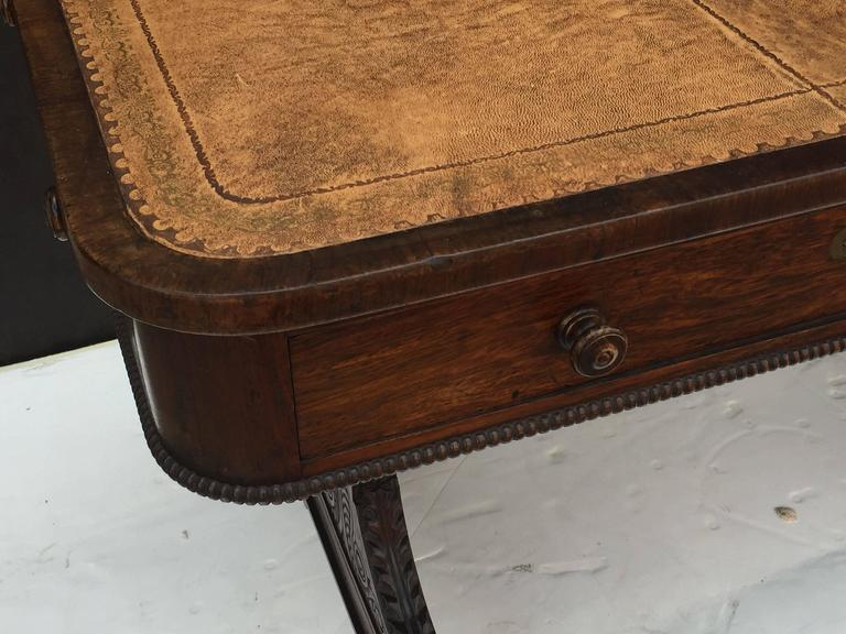 Scottish Library Table of Rosewood with Leather Top For Sale 2