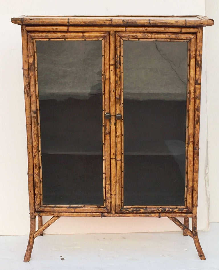 English Bamboo and Lacquer Cabinet Bookcase with Two Glass Doors 2