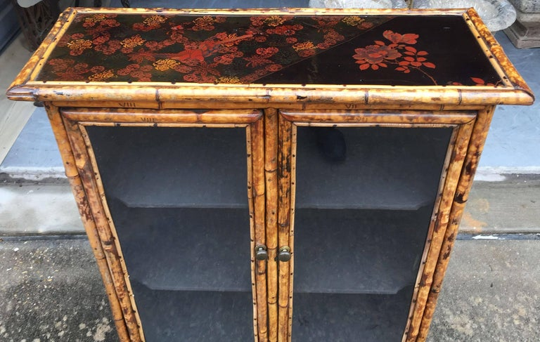 English Bamboo and Lacquer Cabinet Bookcase with Two Glass Doors 5