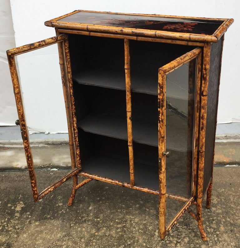 English Bamboo and Lacquer Cabinet Bookcase with Two Glass Doors 6