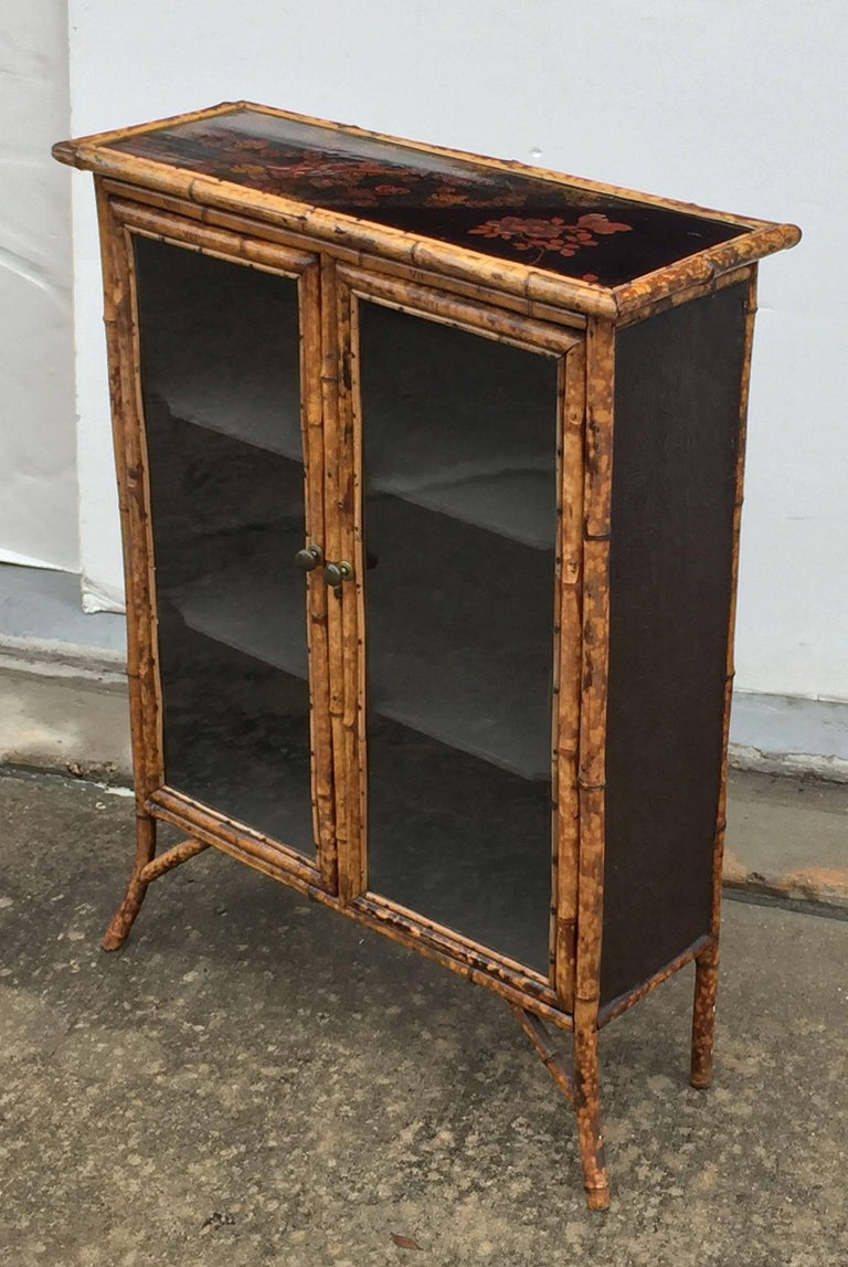 English Bamboo and Lacquer Cabinet Bookcase with Two Glass Doors 7