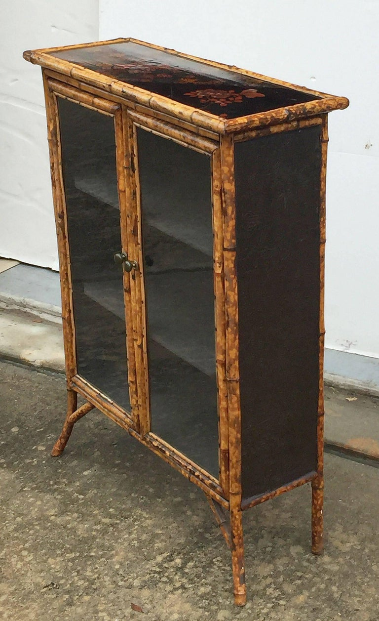 English Bamboo and Lacquer Cabinet Bookcase with Two Glass Doors 8