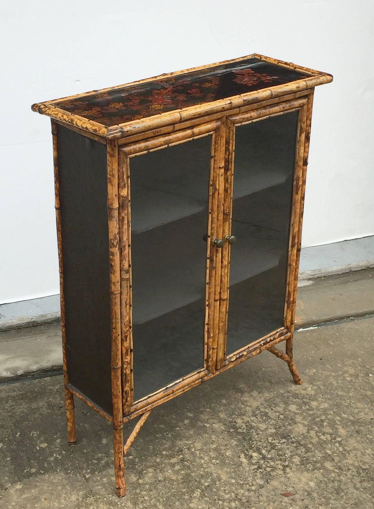 English Bamboo and Lacquer Cabinet Bookcase with Two Glass Doors 9