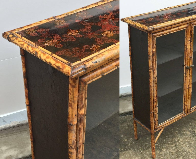 English Bamboo and Lacquer Cabinet Bookcase with Two Glass Doors 10