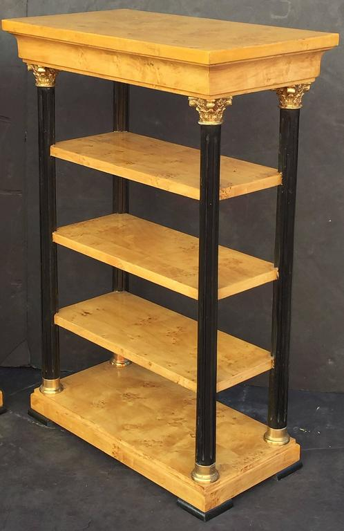Pair of Biedermeier Style Open Bookcases or Shelves from England 2
