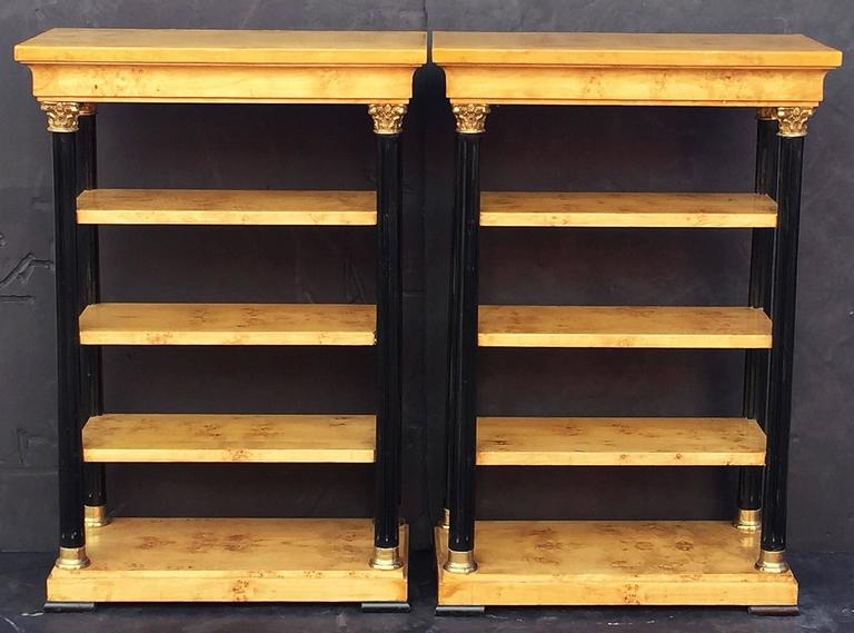 Pair of Biedermeier Style Open Bookcases or Shelves from England 3