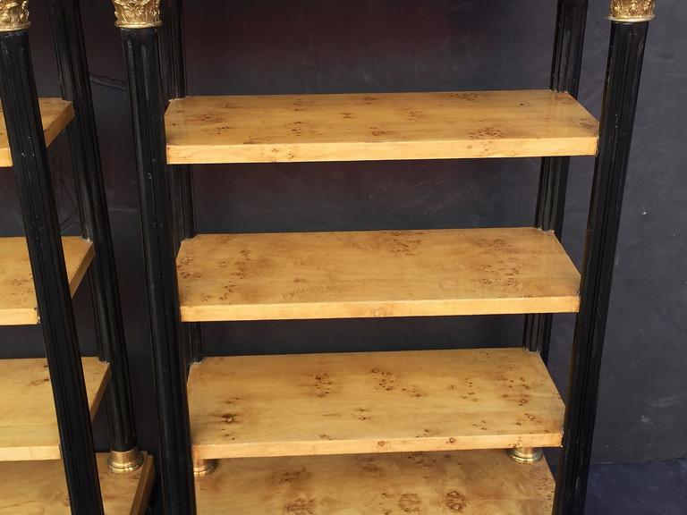 Pair of Biedermeier Style Open Bookcases or Shelves from England 9