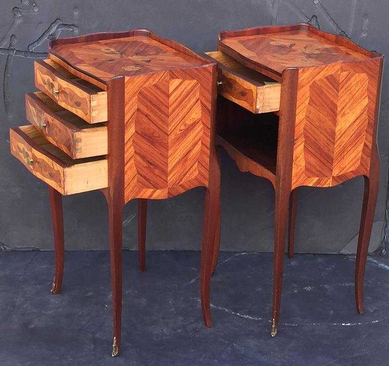 Pair of french inlaid nightstands or bedside tables at 1stdibs for French nightstand bedside table