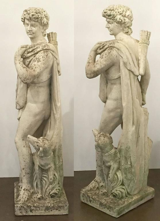 Large English Garden Stone Statue of Apollo with Dog 4