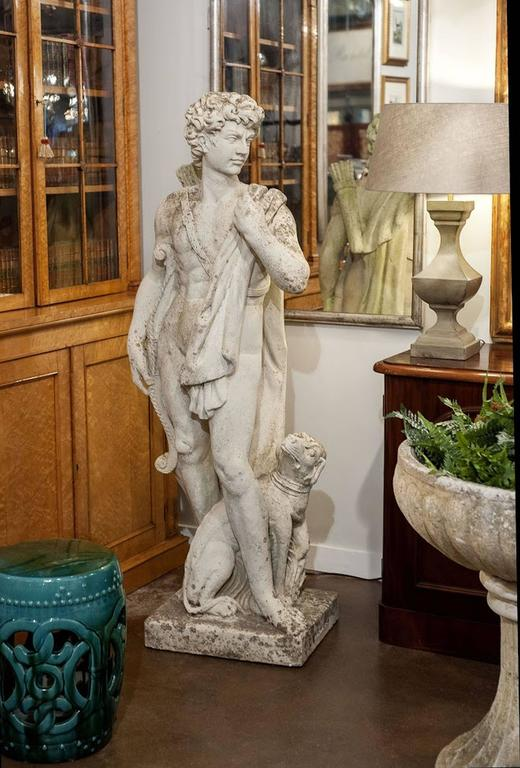 Large English Garden Stone Statue of Apollo with Dog 10