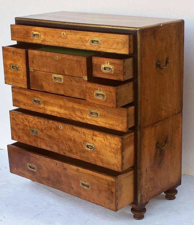 British Military Officer's Campaign Chest Secretary of Brass-Bound Camphor Wood 10