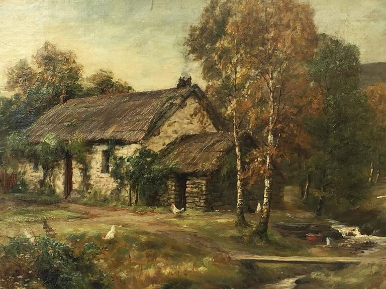 Framed Landscape Oil Painting on Canvas by W.S. Myles, circa 1850-1911 In Excellent Condition For Sale In Austin, TX