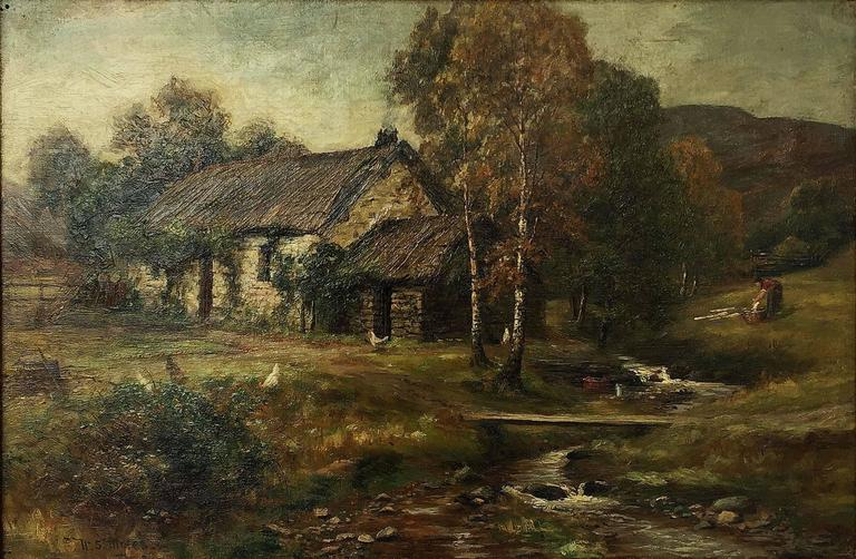 English Framed Landscape Oil Painting on Canvas by W.S. Myles, circa 1850-1911 For Sale
