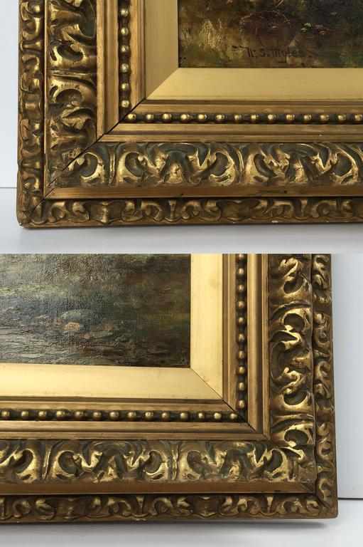 Framed Landscape Oil Painting on Canvas by W.S. Myles, circa 1850-1911 For Sale 3