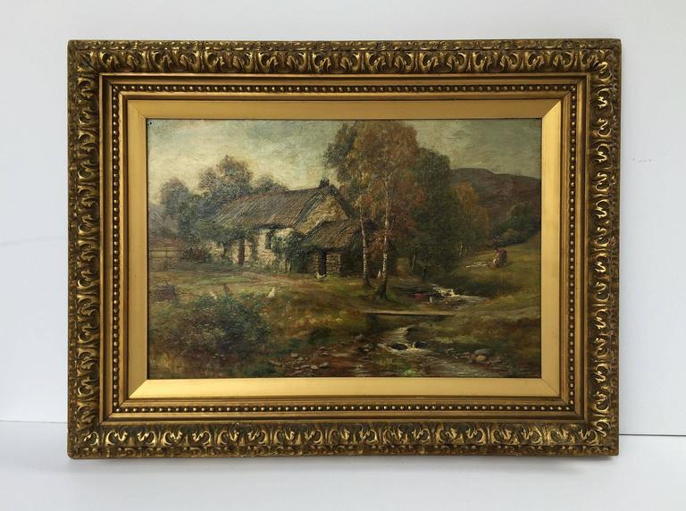 A handsome landscape oil painting on canvas in gilt frame by the British painter, W.S. Myles (William Scott Myles, circa 1850-1911), featuring a scene of a thatched roof stone cottage by a stream.  Signed (bottom left corner): WS Myles  Canvas