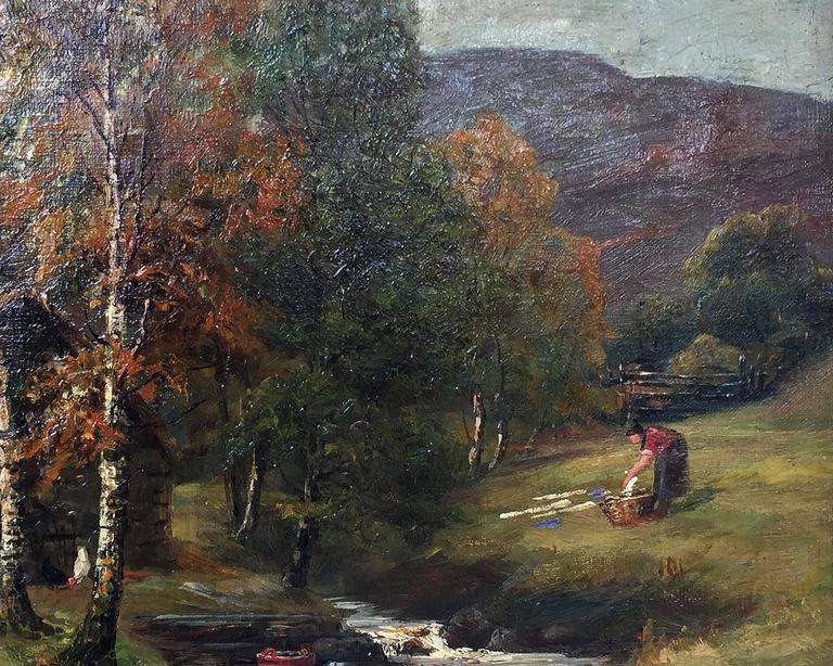 20th Century Framed Landscape Oil Painting on Canvas by W.S. Myles, circa 1850-1911 For Sale