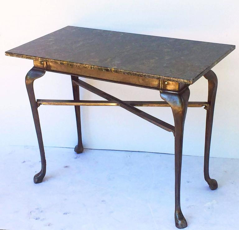 English Pub Bistro Table of Cast Iron with Granite Top For Sale 2