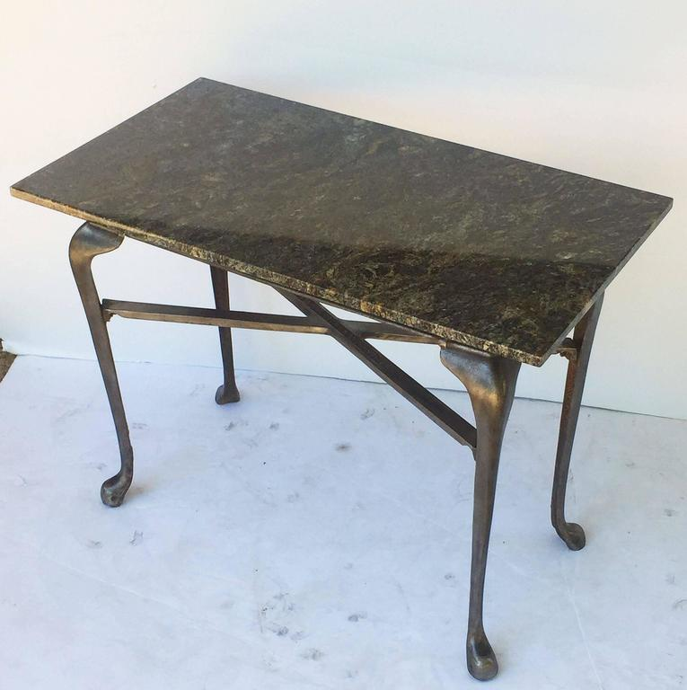 English Pub Bistro Table of Cast Iron with Granite Top For Sale 5