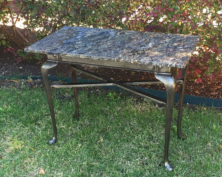 English Pub Bistro Table of Cast Iron with Granite Top In Excellent Condition For Sale In Austin, TX