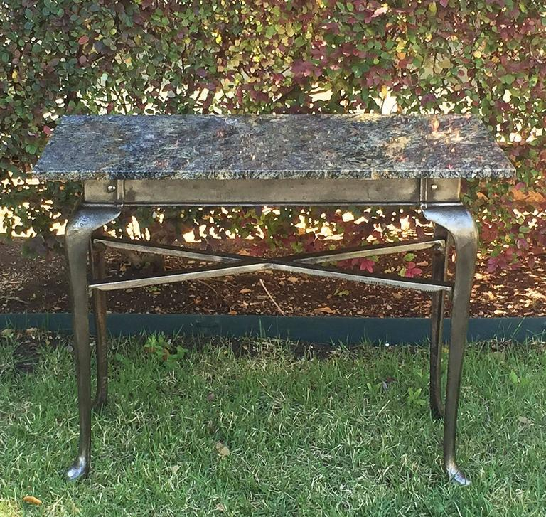 20th Century English Pub Bistro Table of Cast Iron with Granite Top For Sale