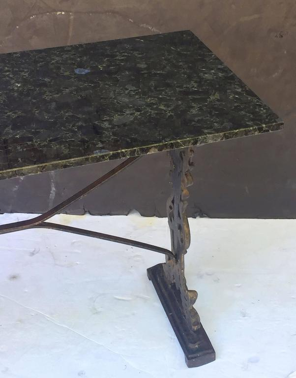 English Pub or Bistro Tables of Cast Iron with Granite Top (Pair Available) In Excellent Condition For Sale In Austin, TX