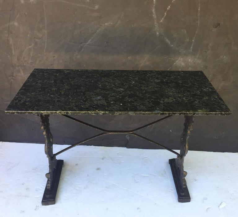 English Pub or Bistro Tables of Cast Iron with Granite Top (Pair Available) For Sale 1