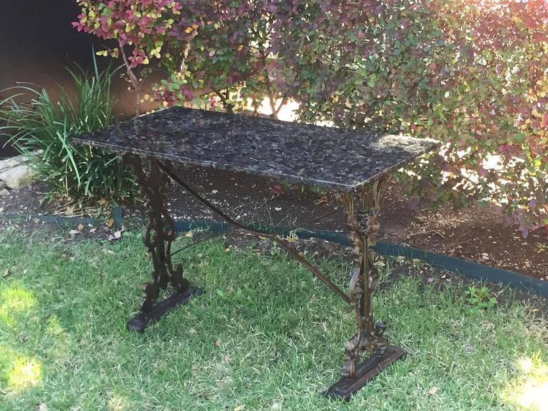 English Pub or Bistro Tables of Cast Iron with Granite Top (Pair Available) For Sale 5