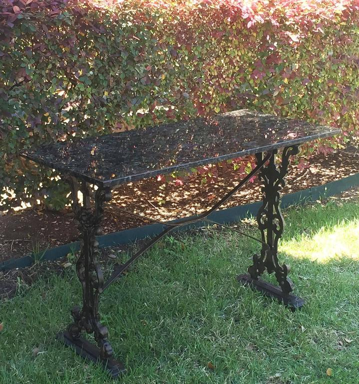 English Pub or Bistro Tables of Cast Iron with Granite Top (Pair Available) For Sale 6