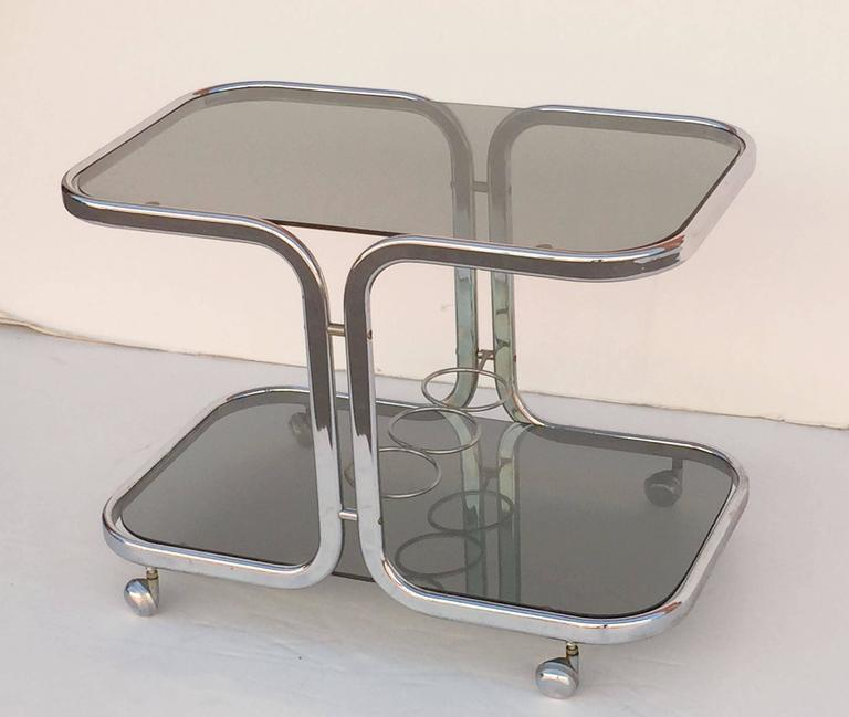 French Chrome Drinks Cart with Smoked Glass In Excellent Condition For Sale In Austin, TX
