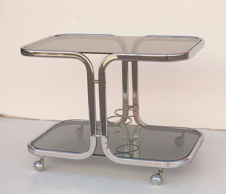 20th Century French Chrome Drinks Cart with Smoked Glass For Sale