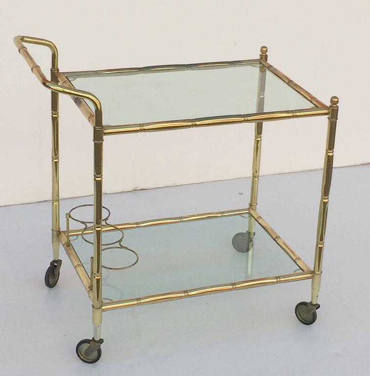 French Drinks Cart of Brass with Tinted Glass 4