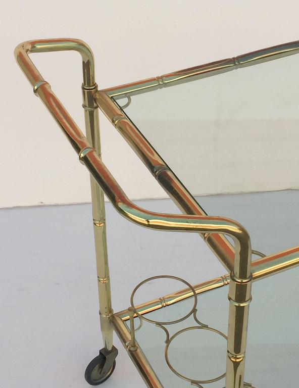 French Drinks Cart of Brass with Tinted Glass 7
