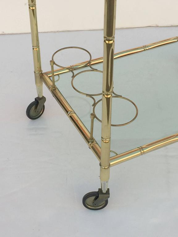French Drinks Cart of Brass with Tinted Glass 10