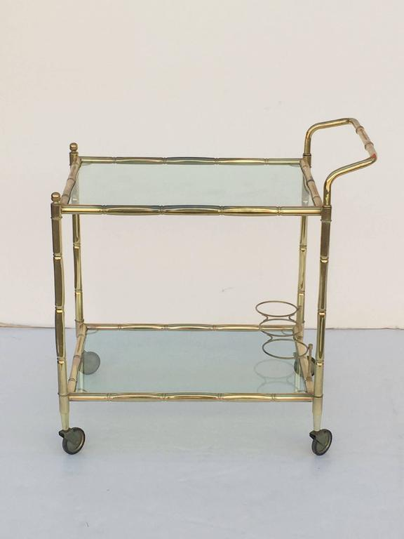 French Drinks Cart of Brass with Tinted Glass 3