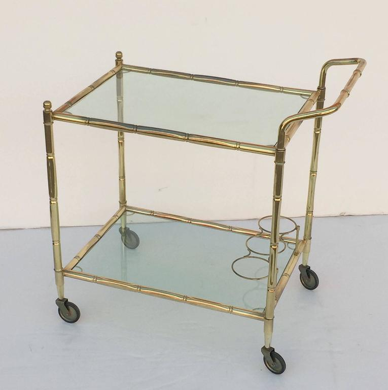 French Drinks Cart of Brass with Tinted Glass 5