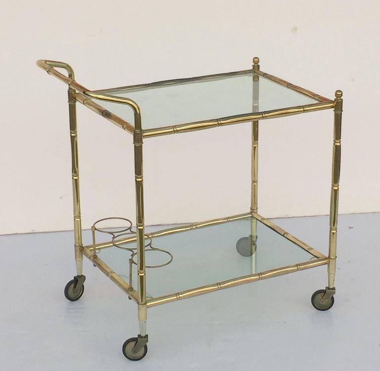 French Drinks Cart of Brass with Tinted Glass 6