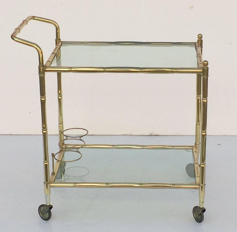 French Drinks Cart of Brass with Tinted Glass 2