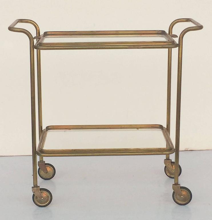 French Drinks Cart Of Brass With Removable Top Serving