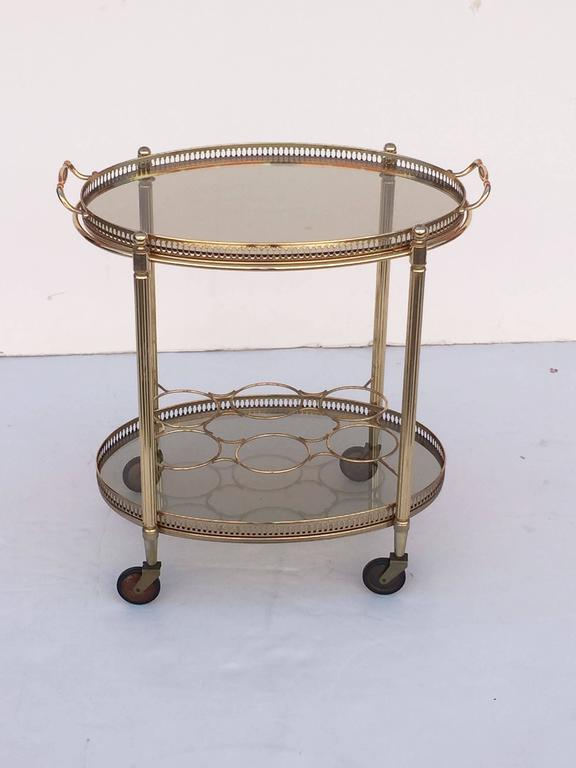 French Oval Drinks Cart of Brass and Smoked Glass with Serving Tray Top 5